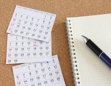 ノートとカレンダー